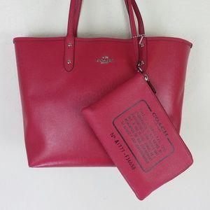 Coach Signature Reversible Brown/Pink Tote Handbag